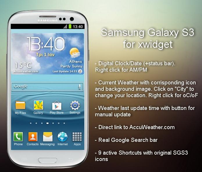 Galaxy S3 Xwidget Download Website Live Wallpaper Widget Gadget Dashboard Rainmeter Dock Weather Customization